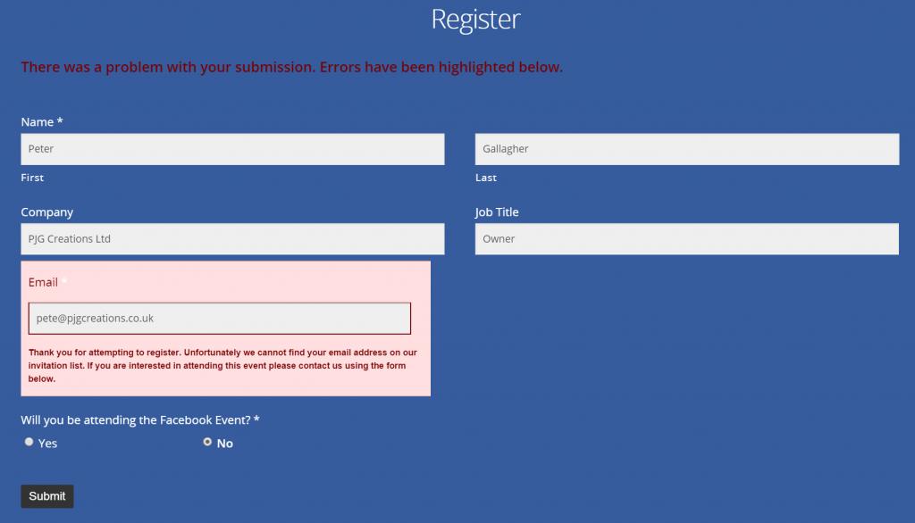 Facebook Registration - Validation