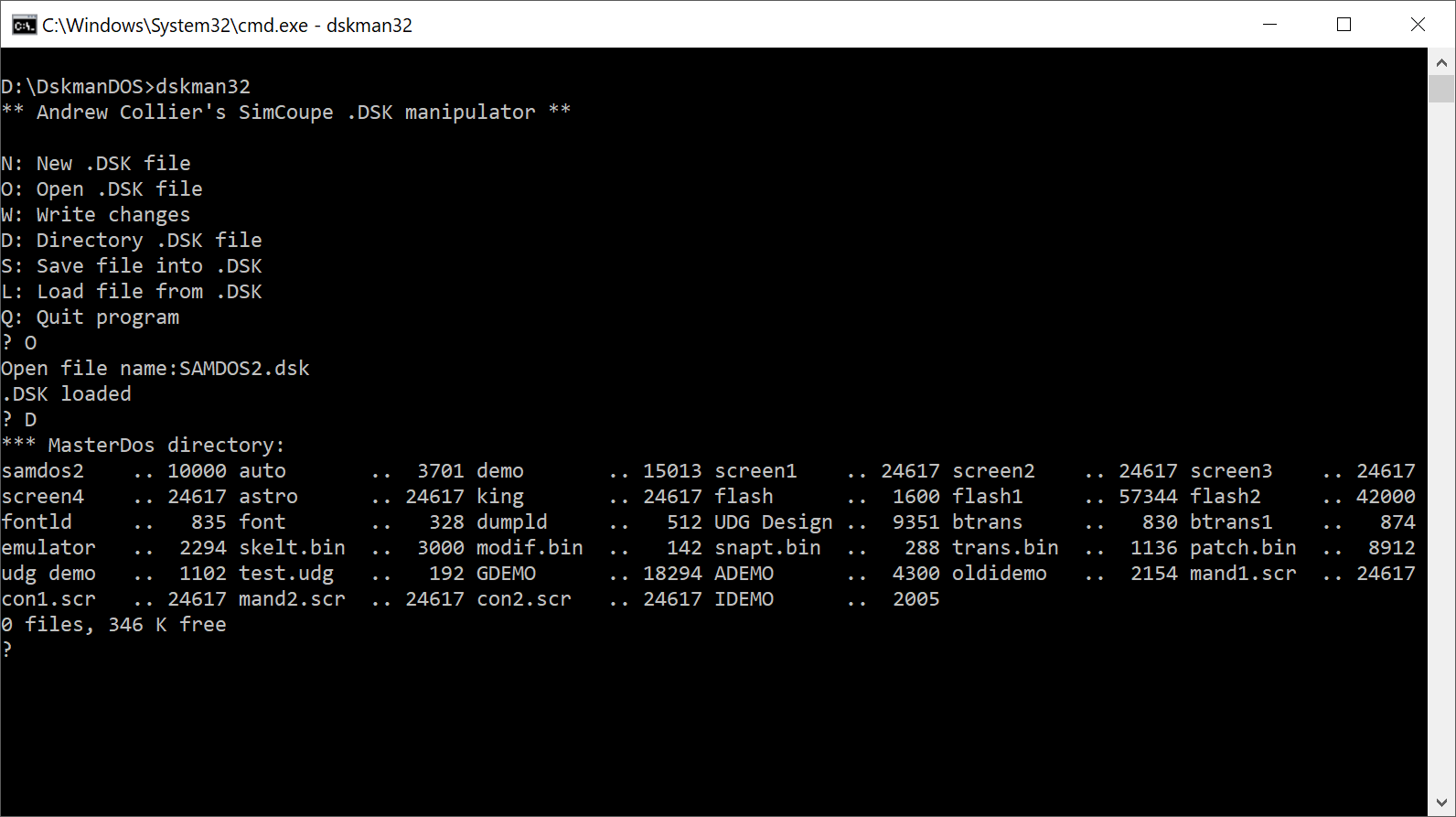Assembly Code Tools - DiskmanDOS SAMDISK2 Files
