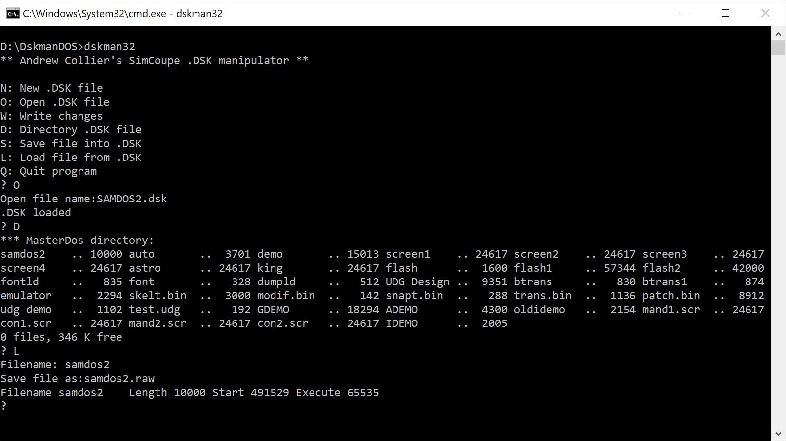 Assembly Code Tools - DiskmanDOS SAMDOS2 Extract File